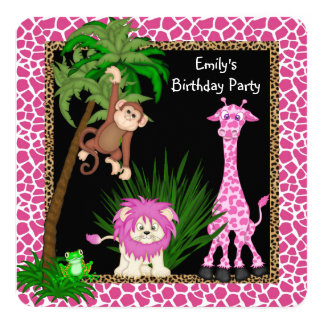 Girls Safari Birthday Party Card