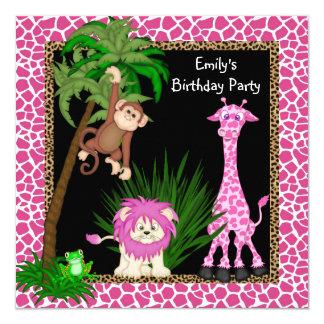 Girls Safari Birthday Party Custom Invitation Card