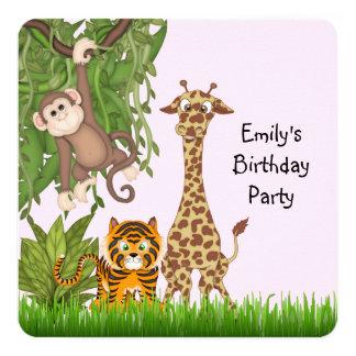 "Girls Safari Birthday Party 5.25"" Square Invitation Card"