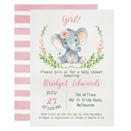 Girl's Safari Elephant Baby Shower Invitation
