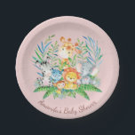 "Girls Safari Jungle Baby Shower 7&quot; Plate<br><div class=""desc"">Cute safari jungle animals featuring a zebra,  hippo,  elephant,  lion,  monkey &amp; giraffe with an assortment of jungle leaves set on a pink background.  Visit our shop to view our entire jungle safari baby shower collection!</div>"