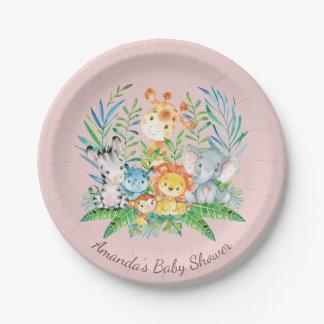 "Girls Safari Jungle Baby Shower 7"" Plate"