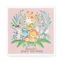 Girls Safari Jungle Baby Shower Paper Napkins
