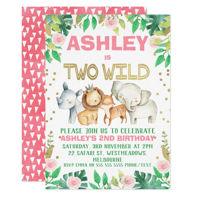 Girls safari two wild 2nd birthday invitation