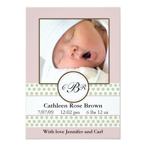 Girls Sage Dots Birth Announcement