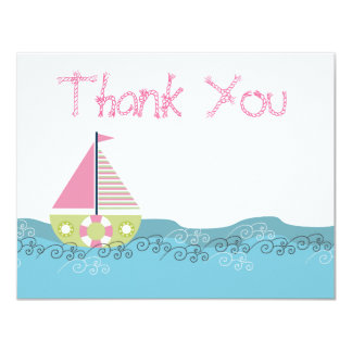 Girls Sail Boat Birthday Thank You Note Cards Custom Announcement