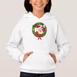Girls Santa in Wreath Holiday Hoodie