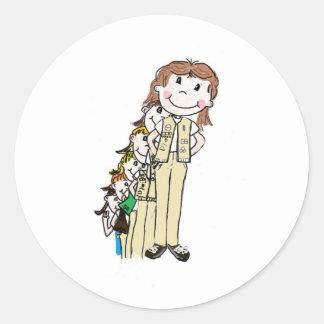 Girls scout en los años pegatina redonda