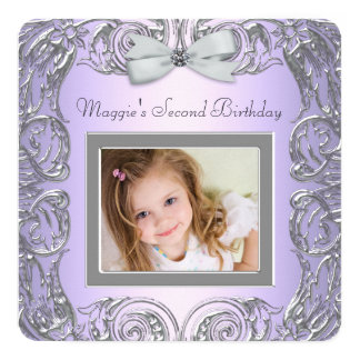 Girls Second Birthday Party Card
