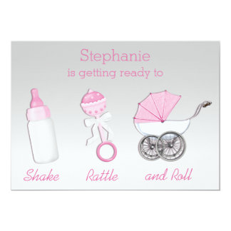 Girls Shake Rattle Roll Silver Pink Baby Shower Card