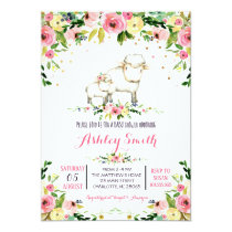 Girls sheep Baby Shower Invitations