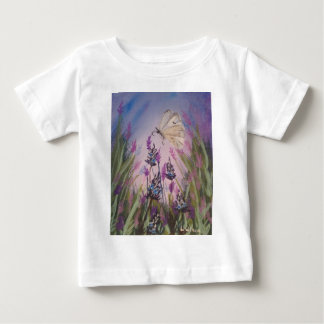 Girls shirt, lavender flowers & white butterfly baby T-Shirt