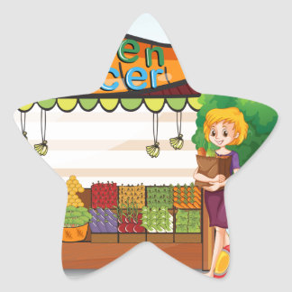 Girls shopping for fresh ingredients star sticker