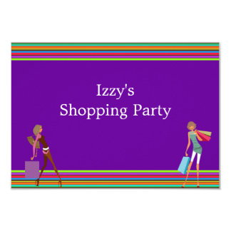 Girls Shopping Party Event Purple Card