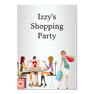 Girls Shopping Party Event Silver White Card