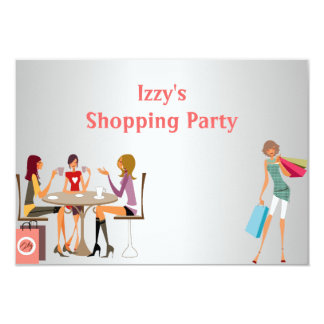 Girls Shopping Party Event Silver White Peach Card