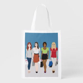 Girls Shopping Reusable Bag Market Totes