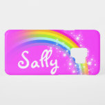 """Girls short name rainbow pink kids ipod touch case<br><div class=""""desc"""">Help protect your ipod from knocks with this pretty pink rainbow design case. Personalise with your name up to 5 letters. This example reads Sally. (***Please note some names will not always fit due to the nature of the font.     Exclusively designed and illustrated by Sarah Trett.</div>"""