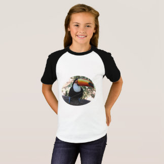 Girls' Short Sleeve Raglan T-Shirt, White/Black T-Shirt