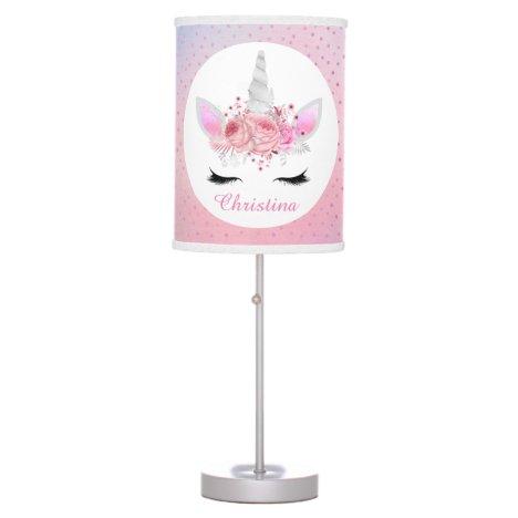 Girls silver pink unicorn Fantasy lamp