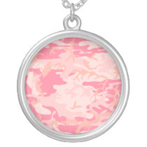 Girls Simple Pink Camo Pattern Silver Plated Necklace