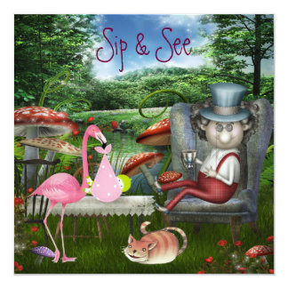 Girl's Sip & See Mad Hatter Tea Party Baby Shower Card