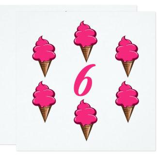 Girls Sixth Birthday Party Pink Ice Cream Card