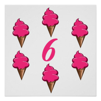 Girls Sixth Birthday Party Pink Ice Cream Poster
