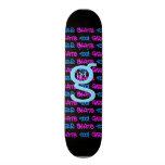 Girls Skate Too! - Black Skateboard -(blue & pink)