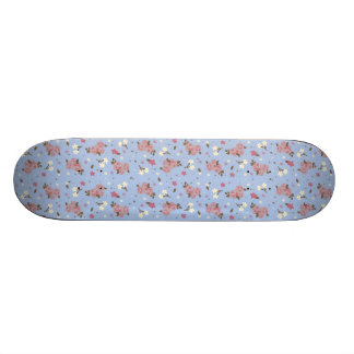 Girls Skateboard - pink flowers on baby blue