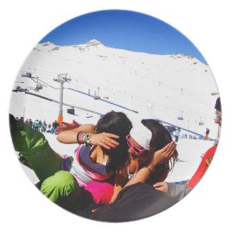 Girls Ski slope Dinner Plate