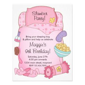 Girls Sleeping Bag Birthday Invitation