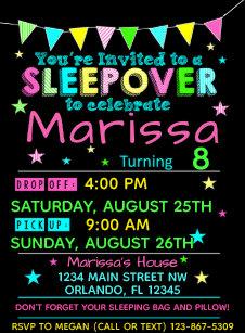 Girls Sleepover Birthday Invitation Slumber Party