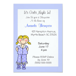 Girls Sleepover  Birthday Invitations