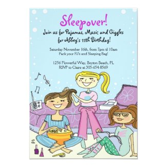 Girls Sleepover Themed Birthday Party Invitations