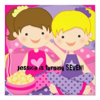 "Girls Slumber Party Birthday Invitation 5.25"" Square Invitation Card"