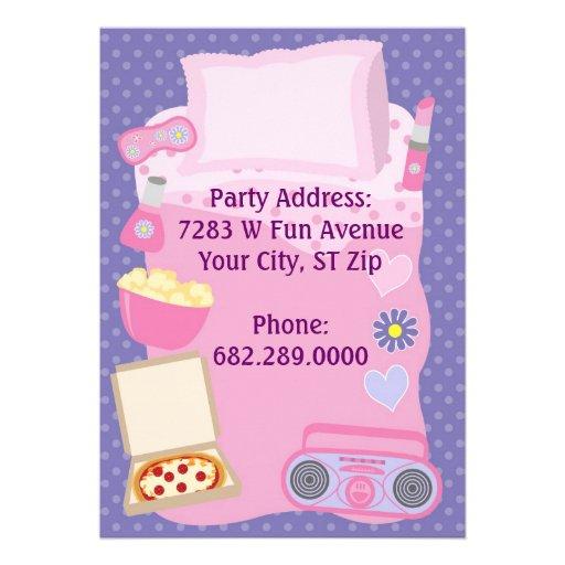 Girls Slumber Party Sleepover Pajama Invitation (back side)