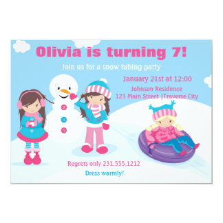 Girls Snow Tubing Invitation