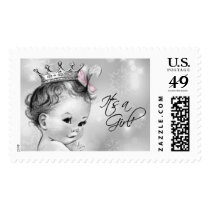 Girls Snowflake Baby Shower Postage Stamp