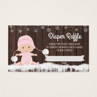 Girls Snowflake Diaper Raffle Tickets