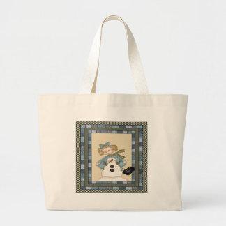 Girls Snowman Jumbo Tote Bag