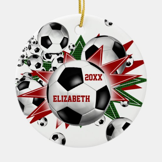 Girls' Soccer Ball Blowout Ceramic Ornament