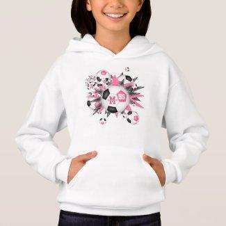 girls soccer ball blowout w pink black stars hoodie