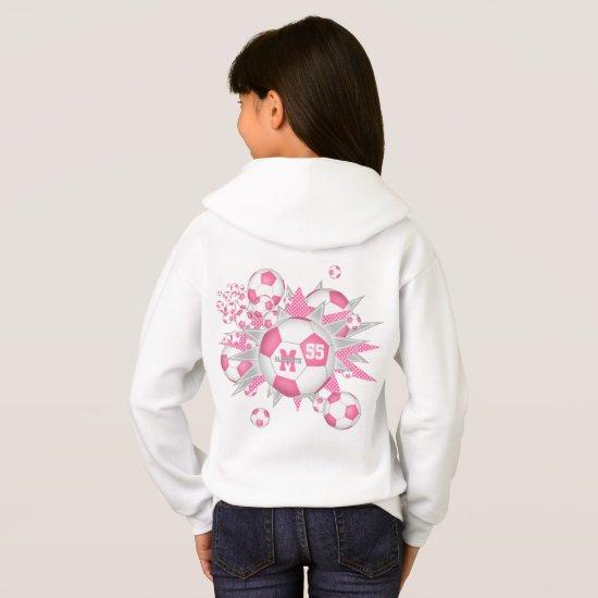 girls soccer ball blowout w pink gray stars hoodie