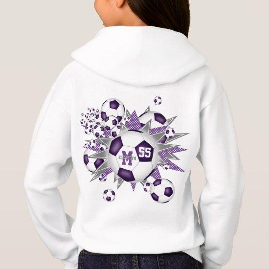 girls soccer ball blowout w purple gray stars hoodie