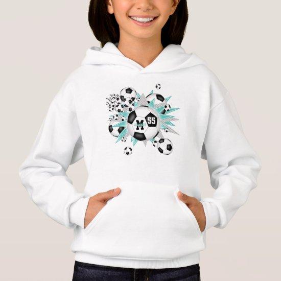 girls soccer ball blowout w teal gray stars hoodie