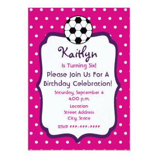 Girls Soccer Birthday Invite- Pink With Purple 5x7 Paper Invitation Card