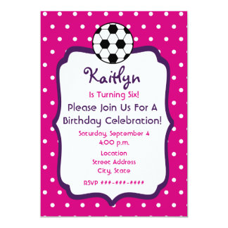 Girls Soccer Birthday Invite- Pink With Purple Card