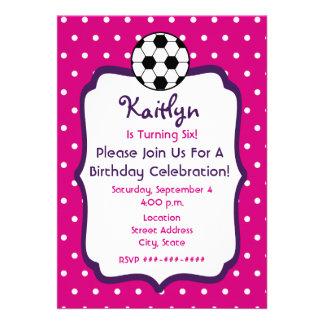Girls Soccer Birthday Invite- Pink With Purple