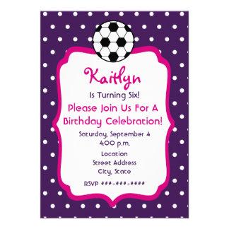Girls Soccer Birthday Invite- Purple With Pink